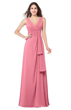 ColsBM Brenda Watermelon Romantic Thick Straps Sleeveless Zipper Floor Length Sash Plus Size Bridesmaid Dresses