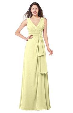 ColsBM Brenda Wax Yellow Romantic Thick Straps Sleeveless Zipper Floor Length Sash Plus Size Bridesmaid Dresses