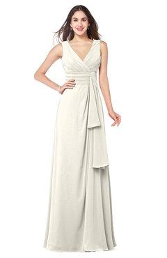 ColsBM Brenda Whisper White Romantic Thick Straps Sleeveless Zipper Floor Length Sash Plus Size Bridesmaid Dresses