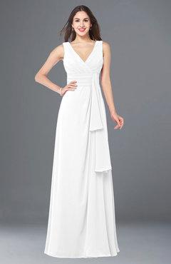 ColsBM Brenda White Romantic Thick Straps Sleeveless Zipper Floor Length Sash Plus Size Bridesmaid Dresses