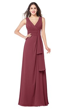 ColsBM Brenda Wine Romantic Thick Straps Sleeveless Zipper Floor Length Sash Plus Size Bridesmaid Dresses