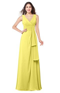 ColsBM Brenda Yellow Iris Romantic Thick Straps Sleeveless Zipper Floor Length Sash Plus Size Bridesmaid Dresses