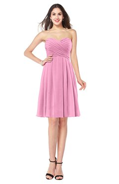 ColsBM Jillian Pink Gorgeous Sweetheart Sleeveless Half Backless Knee Length Plus Size Bridesmaid Dresses