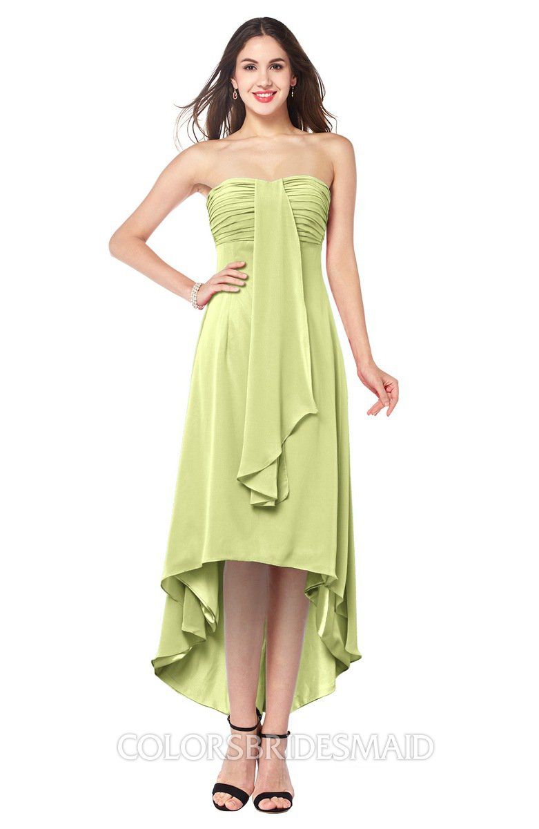 Colsbm Emilee Lime Green Y A Line Sleeveless Half Backless Asymmetric Plus Size Bridesmaid Dresses