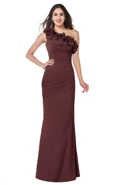 ColsBM Lisa Burgundy Sexy Fit-n-Flare Sleeveless Half Backless Chiffon Flower Plus Size Bridesmaid Dresses