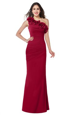 ColsBM Lisa Dark Red Sexy Fit-n-Flare Sleeveless Half Backless Chiffon Flower Plus Size Bridesmaid Dresses