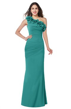 ColsBM Lisa Emerald Green Sexy Fit-n-Flare Sleeveless Half Backless Chiffon Flower Plus Size Bridesmaid Dresses
