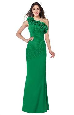 ColsBM Lisa Green Sexy Fit-n-Flare Sleeveless Half Backless Chiffon Flower Plus Size Bridesmaid Dresses