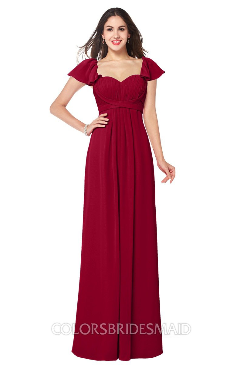 Colsbm Karla Dark Red A Line Short Sleeve Half Backless Sash Plus Size Bridesmaid