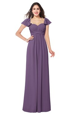 ColsBM Karla Eggplant Mature A-line Short Sleeve Half Backless Sash Plus Size Bridesmaid Dresses