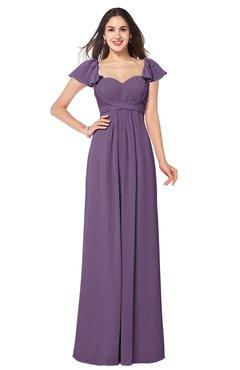 ColsBM Karla Eggplant Mature A-line Short Sleeve Half Backless Sash Plus Size Bridesmaid Dresses