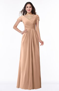 ColsBM Evie Almost Apricot Glamorous A-line Short Sleeve Floor Length Ruching Plus Size Bridesmaid Dresses