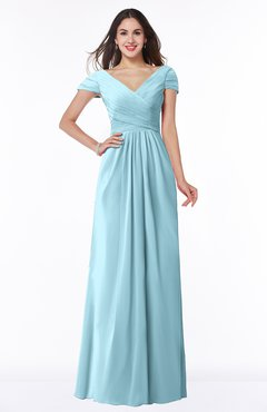 ColsBM Evie Aqua Glamorous A-line Short Sleeve Floor Length Ruching Plus Size Bridesmaid Dresses
