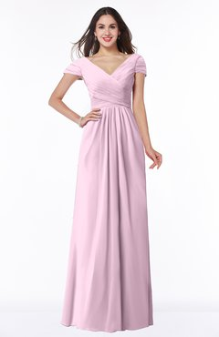 ColsBM Evie Baby Pink Glamorous A-line Short Sleeve Floor Length Ruching Plus Size Bridesmaid Dresses