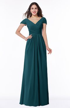 ColsBM Evie Blue Green Glamorous A-line Short Sleeve Floor Length Ruching Plus Size Bridesmaid Dresses