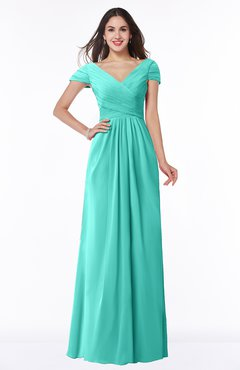 ColsBM Evie Blue Turquoise Glamorous A-line Short Sleeve Floor Length Ruching Plus Size Bridesmaid Dresses