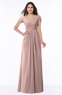 Colsbm Evie Blush Pink Glamorous A Line Short Sleeve Floor Length Ruching Plus Size Bridesmaid