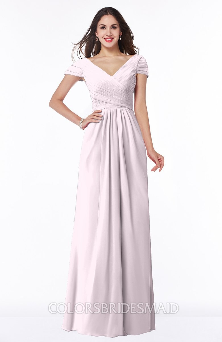Blush glamorous a line short sleeve floor length ruching for Plus size wedding dresses with color and sleeves