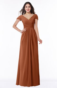 ColsBM Evie Bombay Brown Glamorous A-line Short Sleeve Floor Length Ruching Plus Size Bridesmaid Dresses