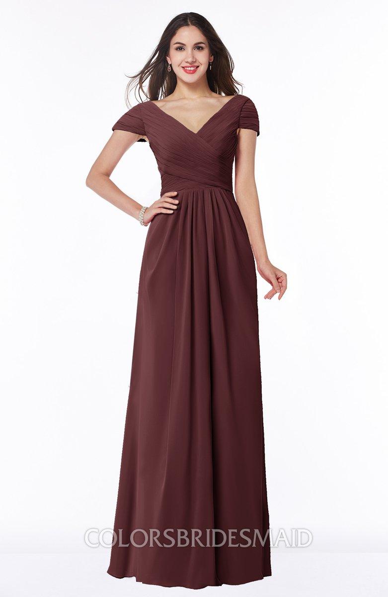 f169bdc703e ColsBM Evie Burgundy Glamorous A-line Short Sleeve Floor Length Ruching  Plus Size Bridesmaid Dresses