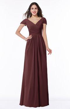ColsBM Evie Burgundy Glamorous A-line Short Sleeve Floor Length Ruching Plus Size Bridesmaid Dresses