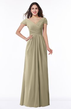 ColsBM Evie Candied Ginger Glamorous A-line Short Sleeve Floor Length Ruching Plus Size Bridesmaid Dresses