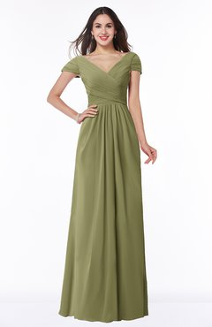 ColsBM Evie Cedar Glamorous A-line Short Sleeve Floor Length Ruching Plus Size Bridesmaid Dresses
