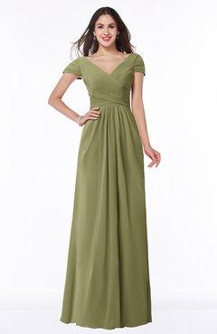 ColsBM Evie Cedar Glamorous A-line Short Sleeve Floor Length Ruching Plus Size Bridesmaid Dresses