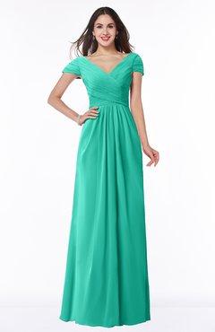 ColsBM Evie Ceramic Glamorous A-line Short Sleeve Floor Length Ruching Plus Size Bridesmaid Dresses