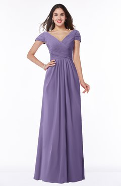 ColsBM Evie Chalk Violet Glamorous A-line Short Sleeve Floor Length Ruching Plus Size Bridesmaid Dresses