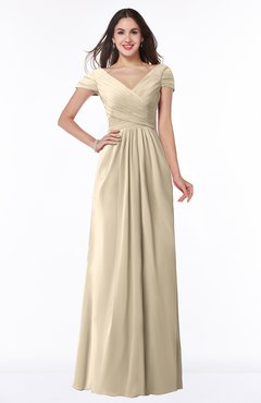 ColsBM Evie Champagne Glamorous A-line Short Sleeve Floor Length Ruching Plus Size Bridesmaid Dresses