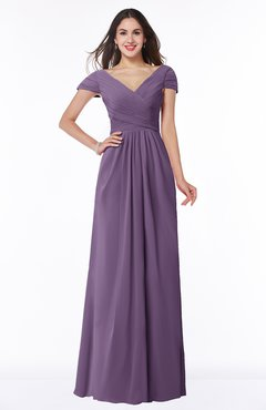 ColsBM Evie Chinese Violet Glamorous A-line Short Sleeve Floor Length Ruching Plus Size Bridesmaid Dresses