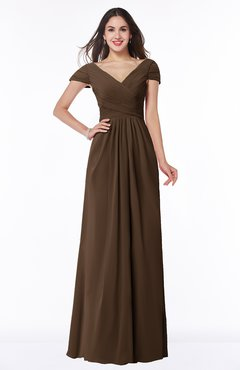 ColsBM Evie Chocolate Brown Glamorous A-line Short Sleeve Floor Length Ruching Plus Size Bridesmaid Dresses