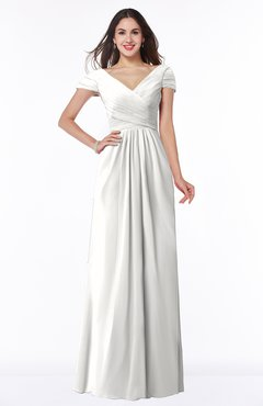 ColsBM Evie Cloud White Glamorous A-line Short Sleeve Floor Length Ruching Plus Size Bridesmaid Dresses