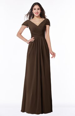 ColsBM Evie Copper Glamorous A-line Short Sleeve Floor Length Ruching Plus Size Bridesmaid Dresses