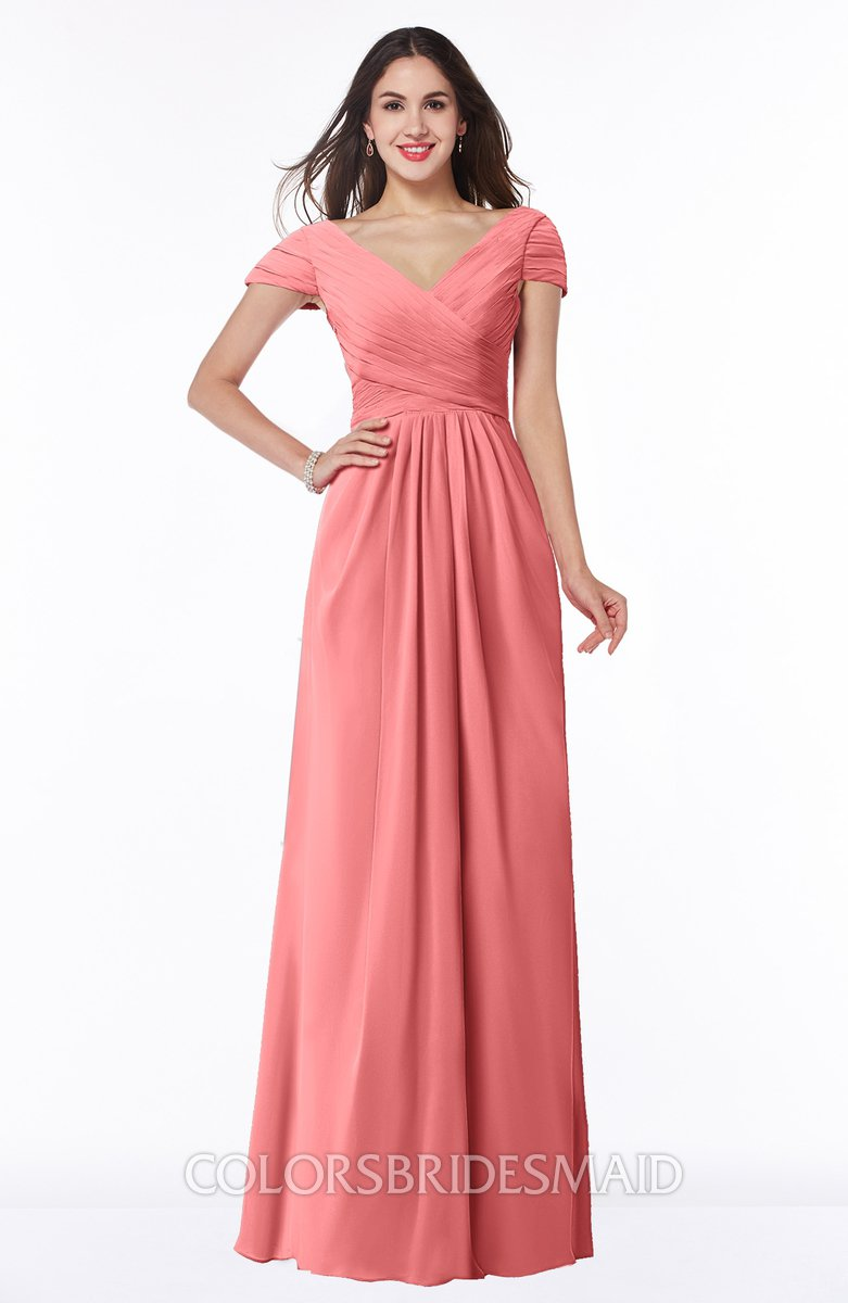 Coral glamorous a line short sleeve floor length ruching for Plus size coral dress for wedding