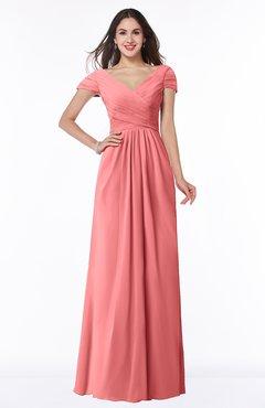 ColsBM Evie Coral Glamorous A-line Short Sleeve Floor Length Ruching Plus Size Bridesmaid Dresses