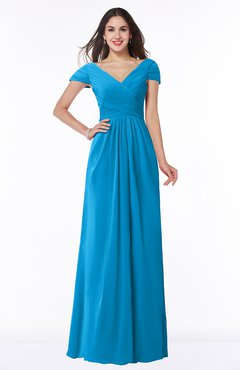 ColsBM Evie Cornflower Blue Glamorous A-line Short Sleeve Floor Length Ruching Plus Size Bridesmaid Dresses