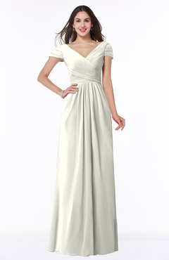 ColsBM Evie Cream Glamorous A-line Short Sleeve Floor Length Ruching Plus Size Bridesmaid Dresses