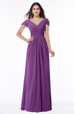 ColsBM Evie Dahlia Glamorous A-line Short Sleeve Floor Length Ruching Plus Size Bridesmaid Dresses