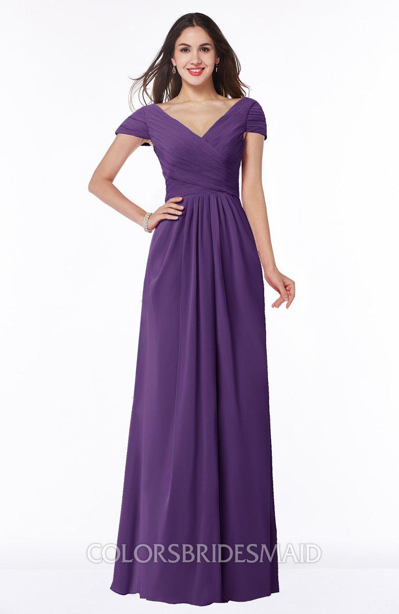 Dark purple glamorous a line short sleeve floor length ruching plus glamorous a line short sleeve floor length ruching plus size bridesmaid dresses ombrellifo Choice Image