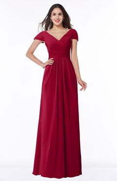 ColsBM Evie Dark Red Glamorous A-line Short Sleeve Floor Length Ruching Plus Size Bridesmaid Dresses