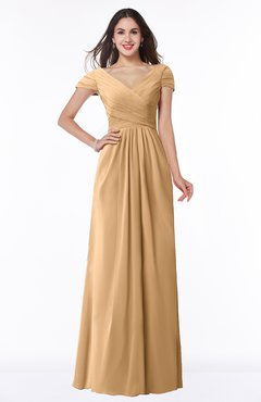 ColsBM Evie Desert Mist Glamorous A-line Short Sleeve Floor Length Ruching Plus Size Bridesmaid Dresses