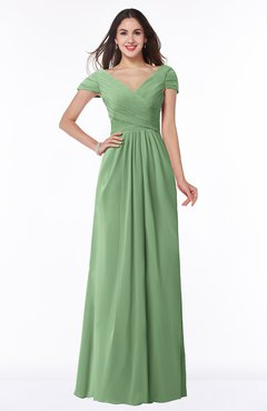 ColsBM Evie Fair Green Glamorous A-line Short Sleeve Floor Length Ruching Plus Size Bridesmaid Dresses