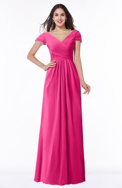 ColsBM Evie Fandango Pink Glamorous A-line Short Sleeve Floor Length Ruching Plus Size Bridesmaid Dresses