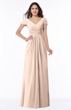 ColsBM Evie Fresh Salmon Glamorous A-line Short Sleeve Floor Length Ruching Plus Size Bridesmaid Dresses