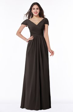 ColsBM Evie Fudge Brown Glamorous A-line Short Sleeve Floor Length Ruching Plus Size Bridesmaid Dresses