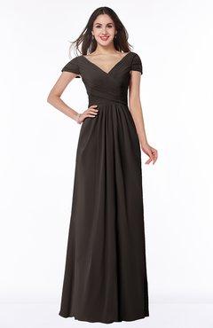 ColsBM Evie Fudge Brown Glamorous A-line Short Sleeve Floor Length Ruching Plus Size Bridesmaid Dresses