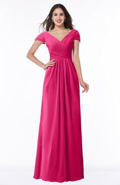 ColsBM Evie Fuschia Glamorous A-line Short Sleeve Floor Length Ruching Plus Size Bridesmaid Dresses
