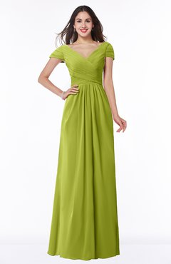 ColsBM Evie Green Oasis Glamorous A-line Short Sleeve Floor Length Ruching Plus Size Bridesmaid Dresses